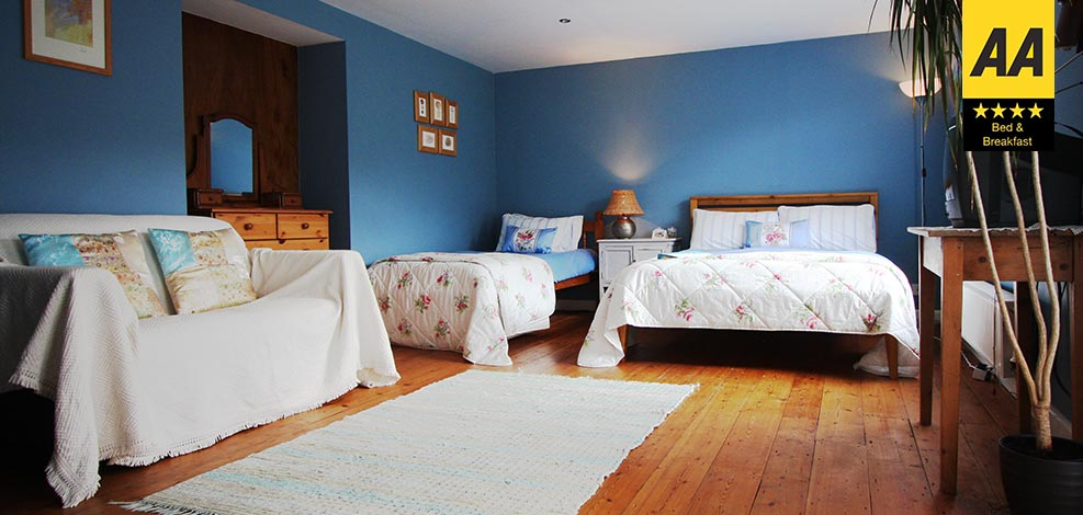 The beautiful Blue Room bed & breakfast accommodation, an en-suite family room designed to sleep up to 4 people.