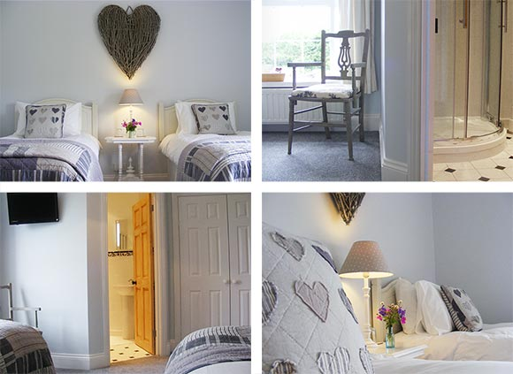The White Room, twin with en-suite at Lobhill Farmhouse B and B Near Okehampton
